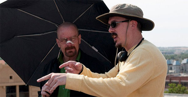 "Bryan Cranston and Vince Gilligan on the set of ""Breaking Bad."""