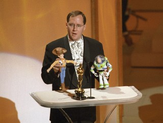 John Lasseter accepting the Special Achievement award for 'Toy Story' at the 68th Academy Awards in 1996.