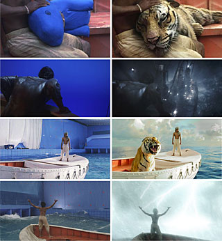 Before (left) and after (right) of four shots in 'Life of Pi'