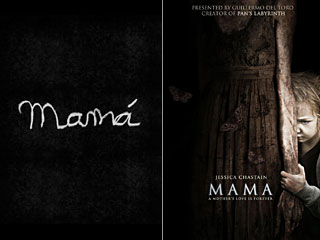 "Posters for the 2008 short (left) and the 2013 feature of ""Mama."""