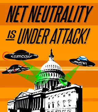 """Net Neutrality is Under Attack!"" illustration by Free Press. Used under creative commons."