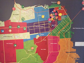 "MTV's map of San Francisco for Season 29, which calls Russian Hill and Pacific Heights simply ""Golden Gate."" Photo by @aarontait"